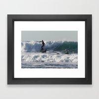 Winter Surfing Framed Art Print