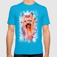 Drippy Jazzy Yorkshire Terrier Colorful Dog Art by Jai Johnson Mens Fitted Tee Teal SMALL