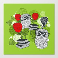 Owls and rose. Canvas Print