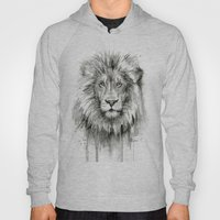 Lion Watercolor Black and White Animal Portrait Hoody