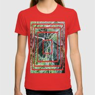 Tangled Trees  Womens Fitted Tee Red LARGE