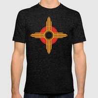 New Mexico Zia - Gold Mens Fitted Tee Tri-Black SMALL