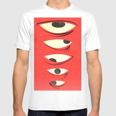 know where to look White SMALL Mens Fitted Tee