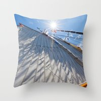 White Sails And Sunshine Throw Pillow