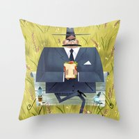 Pigeon Attack! Throw Pillow