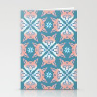 Pastel Fox Pattern Stationery Cards
