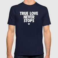 True Love Never Stops Mens Fitted Tee Navy SMALL