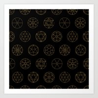 Geocircles (Golden) Art Print