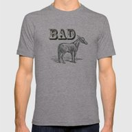 Bad Ass Mens Fitted Tee Tri-Grey SMALL