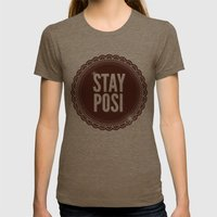Stay Posi Womens Fitted Tee Tri-Coffee SMALL