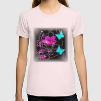 Flowers and Butterflies Womens Fitted Tee Light Pink SMALL