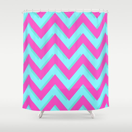 3D CHEVRON TEAL PINK Shower Curtain By Natalie Sales Society6
