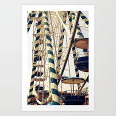 Vintage Ferris Wheel in Marseilles, France Art Print