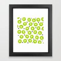 Modern spring green watercolor kiwi fruits pattern  Framed Art Print