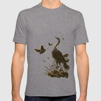 Crane and moth  Mens Fitted Tee Tri-Grey SMALL