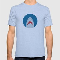 Shark Attack Mens Fitted Tee Athletic Blue SMALL
