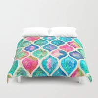 Watercolor Ogee Patchwork Pattern Duvet Cover