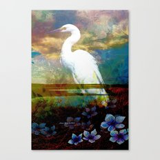 Egret In The Wilderness Canvas Print
