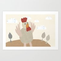 Rooster Collage Art Print