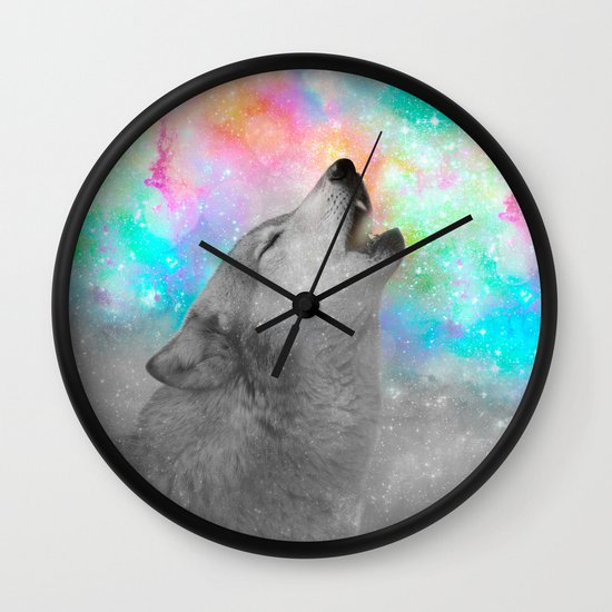 Breathing Dreams Like Air (Wolf Howl Abstract II: Gray) Wall Clock