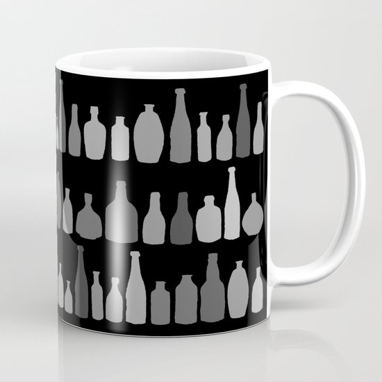 Bottles Black and White on Black Mug