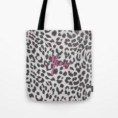 Pink Black White Girly Chic Leopard Print Pattern Tote Bag