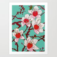 Art Print featuring Cherry Blossoms by Minniemorrisart
