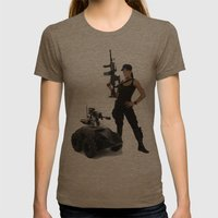 Swat Chick- Girl with SWAT Gear, Military Gun and Tactical Robot Womens Fitted Tee Tri-Coffee SMALL