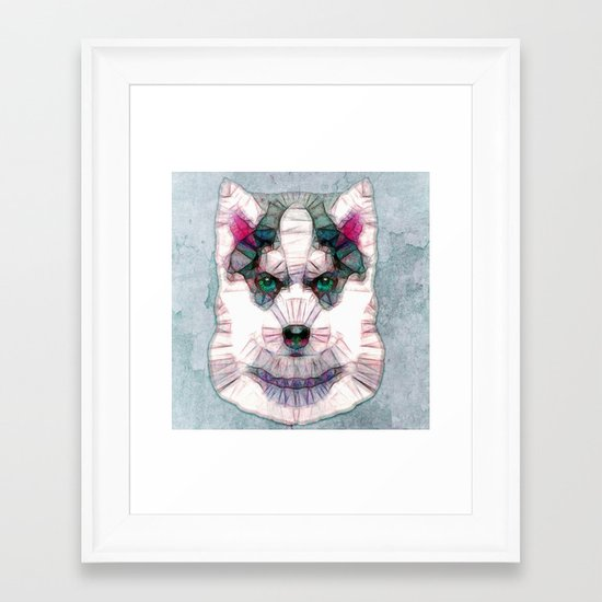 abstract husky puppy Framed Art Print