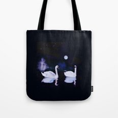 LANDSCAPE-Swan lake at midnight Tote Bag