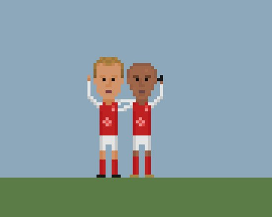 Bergkamp and Henry in Arsenal Art Print