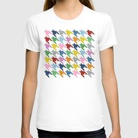 Houndstooth Colour Womens Fitted Tee White SMALL