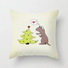 Cartoon Dinosaur And Christmas Tree Throw Pillow