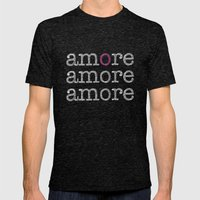 Amore Mens Fitted Tee Tri-Black SMALL