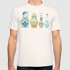 Russian Nesting Dolls – Navy Mens Fitted Tee Natural SMALL