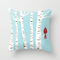 Winter Cardinal Wall Art  Throw Pillow