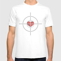 Shot Through The Heart Mens Fitted Tee White SMALL
