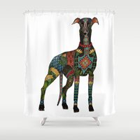 greyhound white Shower Curtain