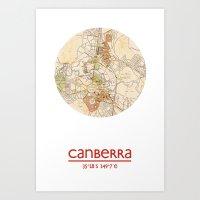 CANBERRA AUSTRALIA - city poster - city map poster print Art Print