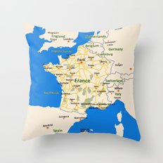 France map design Throw Pillow