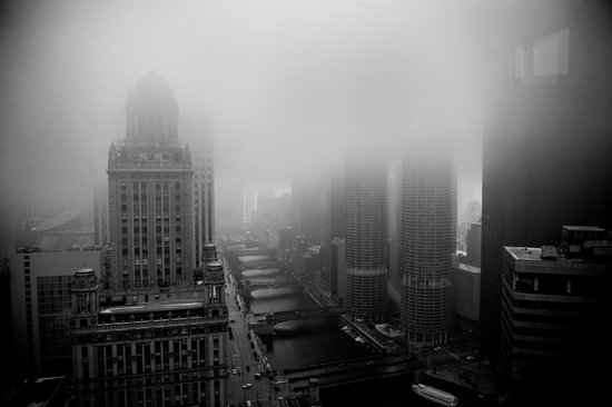 Fog Over Chicago Art Print