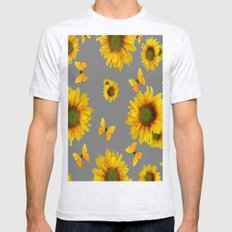 Fluttering Yellow butterflies Sunflowers Grey Pattern Art Mens Fitted Tee Ash Grey SMALL