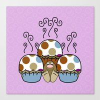 Cute Monster With Blue And Brown Polkadot Cupcakes Canvas Print