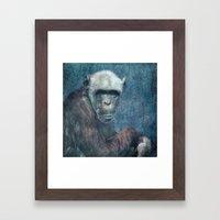 Blue Monkey Framed Art Print