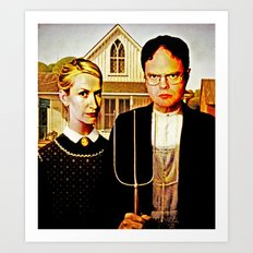 Dwight Schrute & Angela Martin (The Office: American Gothic) Art Print