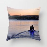 Boat man Throw Pillow