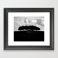Hilltop Silhouette - Bla… Framed Art Print