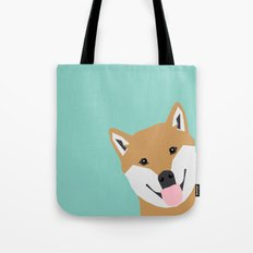 Shiba Inu Peek - cute shiba doge peeking funny dog art print mint turquoise customizable dog gift Tote Bag