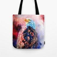 Jazzy Bald Eagle Colorful Bird Art by Jai Johnson Tote Bag