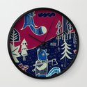Squirrels in forest Wall Clock